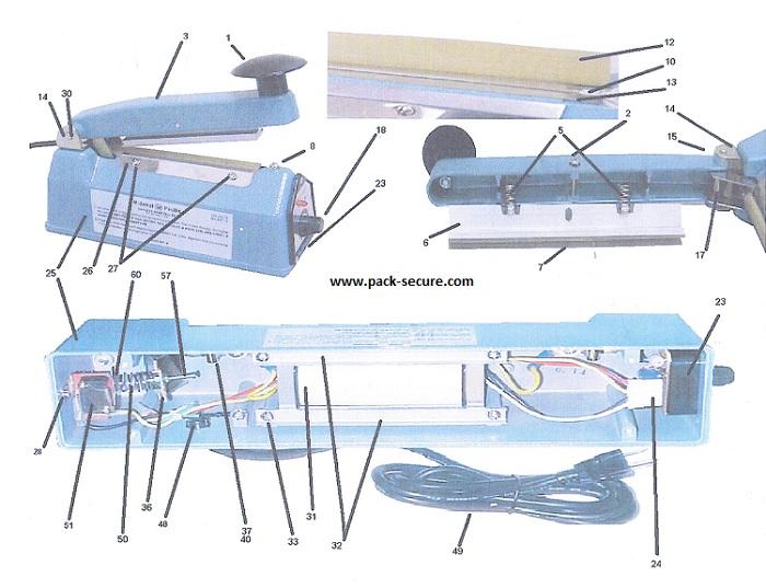 Diagram | Midwest Pacfic Hand Sealer Diagram | MP | Pack-Secure