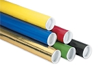 Colored Mailing Tubes - 2 x 6 - Glossy Cardboard w/ Caps - 50 Count