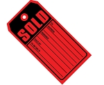 Sold Merchandise Tags - Bright Red