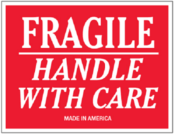Fragile Handle With Care 3 x 5 500 Ct.