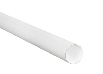 White Mailing Tubes With End Caps